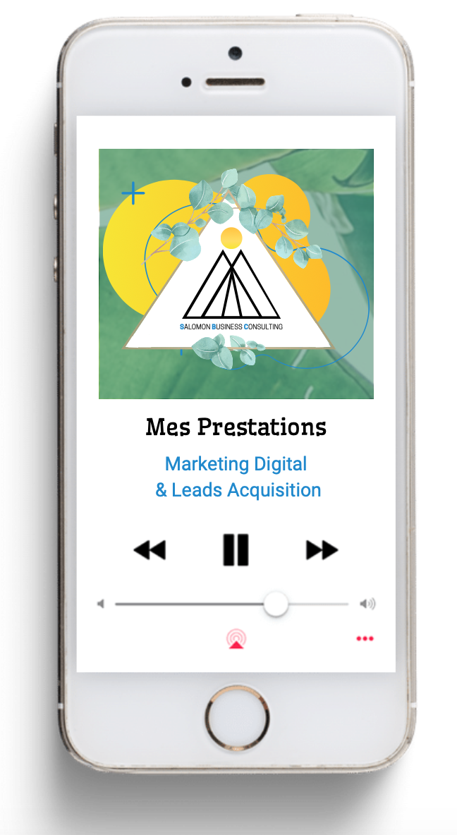 Smartphone représentant les prestations en Marketing Digital en Leads Acquisition de l'entreprise SALOMON BUSINESS CONSULTING
